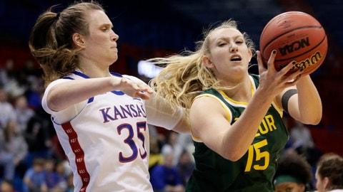 <p>               Baylor forward Lauren Cox (15) pulls in a rebound next to Kansas center Bailey Helgren (35) during the second half of an NCAA college basketball game in Lawrence, Kan., Wednesday, Jan. 15, 2020. (AP Photo/Orlin Wagner)             </p>
