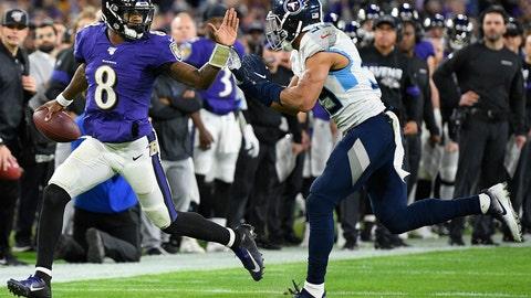 <p>               Baltimore Ravens quarterback Lamar Jackson (8) runs near Tennessee Titans linebacker Harold Landry (58) during the second half of an NFL divisional playoff football game, Saturday, Jan. 11, 2020, in Baltimore. (AP Photo/Nick Wass)             </p>