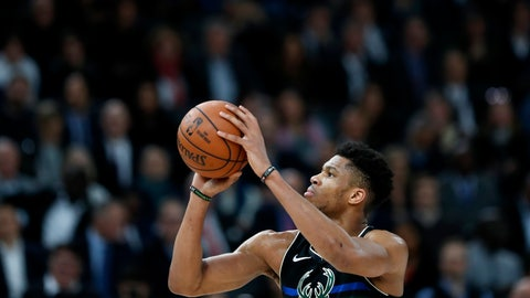 <p>               Milwaukee Bucks forward Giannis Antetokounmpo takes a free throw, during NBA game against Charlotte Hornets, in Paris, Friday, Jan. 24, 2020. (AP Photo/Thibault Camus)             </p>