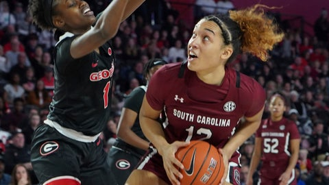 <p>               South Carolina guard Brea Beal (12) prepares to shoot past Georgia's guard Chloe Chapman (1) against during the first half of an NCAA college basketball game Sunday, Jan. 26, 2020, in Athens, Ga. (AP Photo/Tami Chappell)             </p>