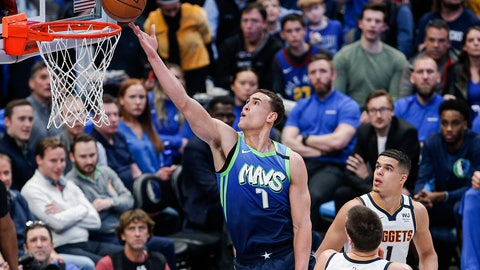 <p>               Dallas Mavericks forward Dwight Powell (7) attempts a layup during the first half of the team's NBA basketball game against the Denver Nuggets on Wednesday, Jan. 8, 2020, in Dallas. (AP Photo/Brandon Wade)             </p>