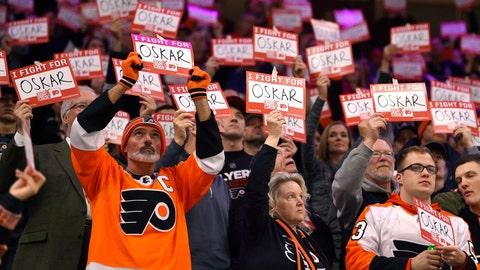 <p>               Fans hold signs in support of Philadelphia Flyers' Oskar Lindblom during a stoppage in the first period of an NHL hockey game against the Anaheim Ducks, Tuesday, Dec. 17, 2019, in Philadelphia. (AP Photo/Derik Hamilton)             </p>