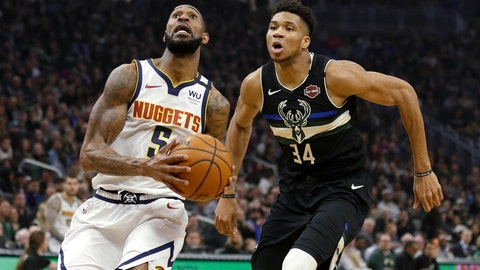 <p>               Denver Nuggets' Will Barton drives to the basket against Milwaukee Bucks' Giannis Antetokounmpo (34) during the first half of an NBA basketball game Friday, Jan. 31, 2020, in Milwaukee. (AP Photo/Aaron Gash)             </p>