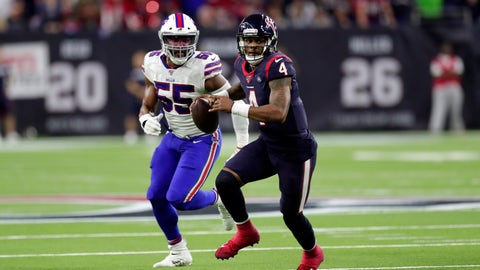 <p>               Houston Texans quarterback Deshaun Watson (4) scrambles away from Buffalo Bills defensive end Jerry Hughes (55) during the second half of an NFL wild-card playoff football game Saturday, Jan. 4, 2020, in Houston. (AP Photo/Michael Wyke)             </p>