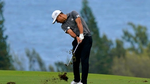 <p>               Xander Schauffele hits from the fourth fairway during third round of the Tournament of Champions golf event, Saturday, Jan. 4, 2020, at Kapalua Plantation Course in Kapalua, Hawaii. (AP Photo/Matt York)             </p>