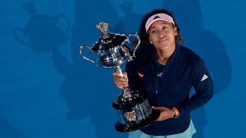 <p>               File-This Jan. 26, 2019, file photo shows Japan's Naomi Osaka holding her trophy after defeating Petra Kvitova of the Czech Republic during the women's singles final at the Australian Open tennis championships in Melbourne, Australia. Osaka sure looks here to stay. Australia makes her resume. (AP Photo/Kin Cheung, File)             </p>