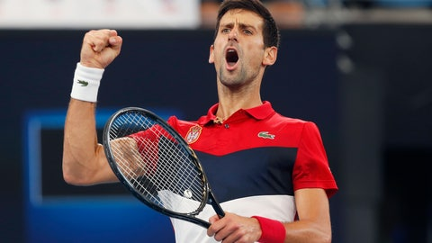 <p>               Novak Djokovic of Serbia reacts to winning the first set against Daniil Medvedev of Russia during their ATP Cup tennis match in Sydney, Saturday, Jan. 11, 2020. (AP Photo/Steve Christo)             </p>