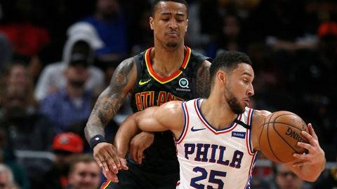 <p>               Philadelphia 76ers guard Ben Simmons (25) works against Atlanta Hawks forward John Collins during the first half of an NBA basketball game Thursday, Jan. 30, 2020, in Atlanta. (AP Photo/John Bazemore             </p>