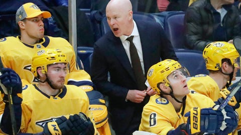 <p>               Nashville Predators head coach John Hynes talks to his players in the second period of an NHL hockey game against the Boston Bruins Tuesday, Jan. 7, 2020, in Nashville, Tenn. This is the first game for Hynes since being named the team's new coach. (AP Photo/Mark Humphrey)             </p>
