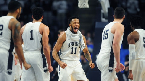 <p>               Penn State's Lamar Stevens (11) reacts during an NCAA college basketball game against  Ohio State, Saturday, Jan. 18, 2020, in State College, Pa. (AP Photo/Gary M. Baranec)             </p>