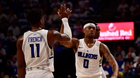 Jan 17, 2020; St. Louis, Missouri, USA;  Saint Louis Billikens guard Jordan Goodwin (0) celebrate with forward Hasahn French (11) during the first half against the Dayton Flyers at Chaifetz Arena. Mandatory Credit: Jeff Curry-USA TODAY Sports