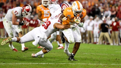 Jan 2, 2020; Jacksonville, Florida, USA; Tennessee Volunteers running back Eric Gray (3) runs the ball in for a touchdown against Indiana Hoosiers defensive back Khalil Bryant (29) during the fourth quarter at TIAA Bank Field. Mandatory Credit: Douglas DeFelice-USA TODAY Sports