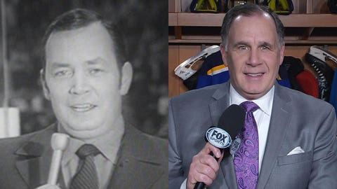 The late Dan Kelly, former voice of the St. Louis Blues, and his son, John Kelly, longtime voice of the Blues on FOX Sports Midwest.