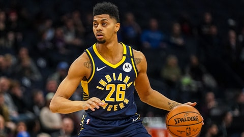 Jan 15, 2020; Minneapolis, Minnesota, USA; Indiana Pacers guard Jeremy Lamb (26) looks to pass during the first quarter against the Minnesota Timberwolves at Target Center. Mandatory Credit: Brace Hemmelgarn-USA TODAY Sports