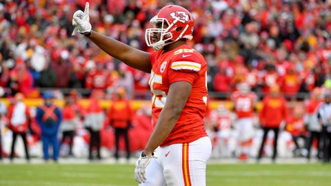 Dec 29, 2019; Kansas City, Missouri, USA; Kansas City Chiefs defensive end Chris Jones (95) celebrates after a tackle during the second half against the Los Angeles Chargers at Arrowhead Stadium. Mandatory Credit: Denny Medley-USA TODAY Sports