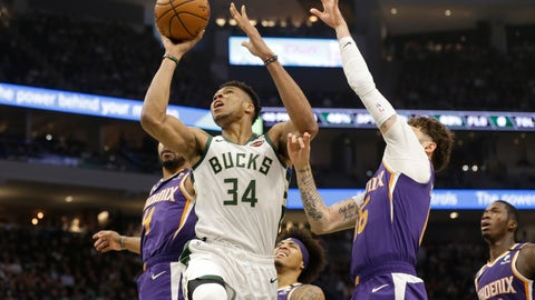 <p>               Milwaukee Bucks' Giannis Antetokounmpo (34) shoots against the Phoenix Suns during the first half of an NBA basketball game Sunday, Feb. 2, 2020, in Milwaukee. (AP Photo/Jeffrey Phelps)             </p>
