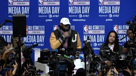<p>               LeBron James, of the Los Angeles Lakers, talks with the media during the NBA All-Star basketball game media day, Saturday, Feb. 15, 2020, in Chicago. (AP Photo/David Banks)             </p>