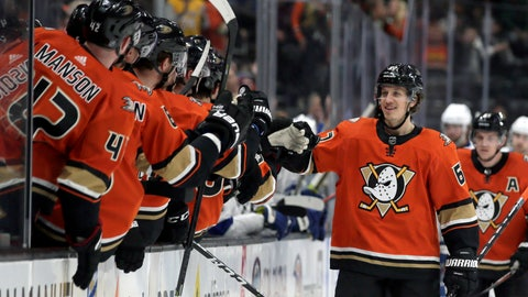 <p>               Anaheim Ducks left wing Rickard Rakell, second from right, of Sweden, celebrates with teammates on the bench after scoring against the Tampa Bay Lightning during the first period of an NHL hockey game in Anaheim, Calif., Friday, Jan. 31, 2020. (AP Photo/Alex Gallardo)             </p>