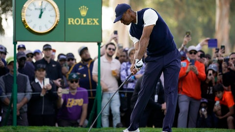 <p>               Tiger Woods tees off on the ninth hole during the third round of the Genesis Invitational golf tournament at Riviera Country Club, Saturday, Feb. 15, 2020, in the Pacific Palisades area of Los Angeles. (AP Photo/Ryan Kang)             </p>