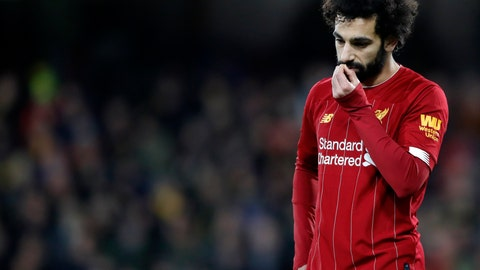 <p>               Liverpool's Mohamed Salah leaves the field at the end of the English Premier League soccer match between Watford and Liverpool at Vicarage Road stadium, in Watford, England, Saturday, Feb. 29, 2020. The match finished 3-0. (AP Photo/Alastair Grant)             </p>