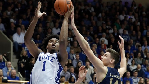 <p>               Duke center Vernon Carey Jr. (1) shoots while Notre Dame forward Nate Laszewski (14) defends during the second half of an NCAA college basketball game in Durham, N.C., Saturday, Feb. 15, 2020. (AP Photo/Gerry Broome)             </p>