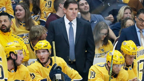 <p>               FILE - In this Oct. 8, 2019, file photo, Nashville Predators head coach Peter Laviolette watches the action in an NHL hockey game against the San Jose Sharks, in Nashville, Tenn. Mike Babcock and Laviolette are among the six coaches already fired this season in the NHL. (AP Photo/Mark Humphrey, File)             </p>
