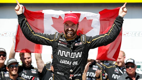 <p>               FILE - In this July 8, 2018, file photo, James Hinchcliffe celebrates after winning an IndyCar Series auto race at Iowa Speedway in Newton, Iowa. Hinchcliffe will return to Andretti Autosport for three races this season, including the Indianapolis 500. (AP Photo/Charlie Neibergall, File)             </p>