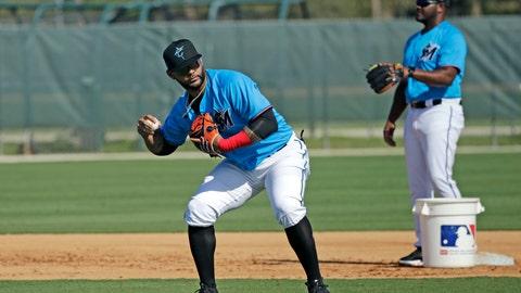 <p>               Miami Marlins infielder Jonathan Villar (2) run drills during spring training baseball practice in Jupiter, Fla., Monday, Feb. 17, 2020. (David Santiago/Miami Herald via AP)             </p>