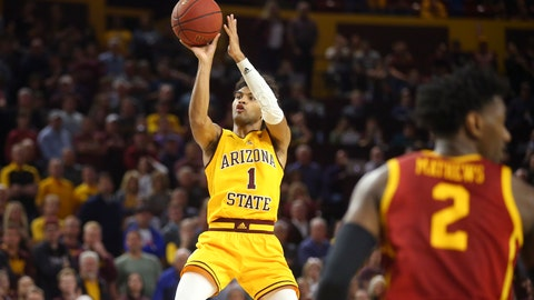 <p>               Arizona State guard Remy Martin hits the go-ahead basket as Southern California guard Jonah Mathews (2) looks away from Martin during the second half of an NCAA college basketball game Saturday, Feb. 8, 2020, in Tempe, Ariz. Arizona State won 66-64. (AP Photo/Ross D. Franklin)             </p>