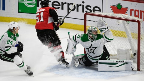 <p>               Ottawa Senators center Artem Anisimov (51) scores on Dallas Stars goaltender Anton Khudobin (35) in overtime of an NHL hockey game Sunday, Feb. 16, 2020, in Ottawa, Ontario. (Justin Tang/The Canadian Press via AP)             </p>