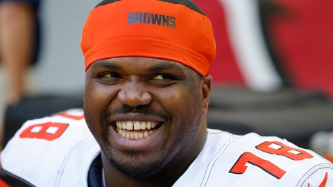 <p>               FILE - In this Dec. 15, 2019, file photo, Cleveland Browns offensive tackle Greg Robinson smiles during an NFL football game against the Arizona Cardinals in Glendale, Ariz. Robinson was being held Wednesday, Feb. 19, 2020,  in a Texas jail on a pending drug distribution charge from a federal agency, records show. Robinson, 27, was booked Tuesday, according to El Paso County jail records.(AP Photo/Rick Scuteri, File)             </p>