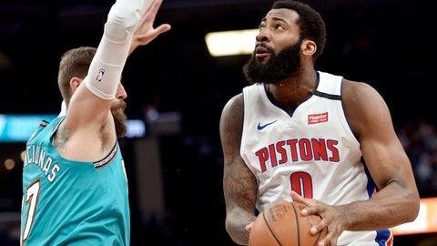 <p>               Detroit Pistons center Andre Drummond (0) handles the ball against Memphis Grizzlies center Jonas Valanciunas (17) in the first half of an NBA basketball game Monday, Feb. 3, 2020, in Memphis, Tenn. (AP Photo/Brandon Dill)             </p>