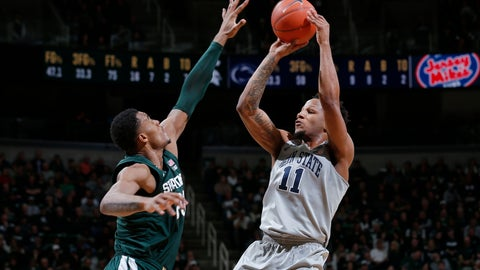 <p>               Penn State's Lamar Stevens, right, shoots against Michigan State's Xavier Tillman during the first half of an NCAA college basketball game Tuesday, Feb. 4, 2020, in East Lansing, Mich. (AP Photo/Al Goldis)             </p>