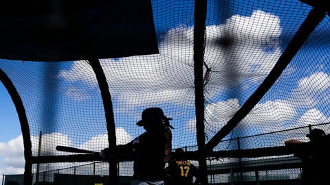 <p>               Pittsburgh Pirates' Josh Bell takes batting practice during a spring training baseball workout Monday, Feb. 17, 2020, in Bradenton, Fla. (AP Photo/Frank Franklin II)             </p>