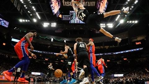 <p>               Milwaukee Bucks' Pat Connaughton dunks during the second half of an NBA basketball game against the Philadelphia 76ers Thursday, Feb. 6, 2020, in Milwaukee. The Bucks won 112-101. (AP Photo/Morry Gash)             </p>