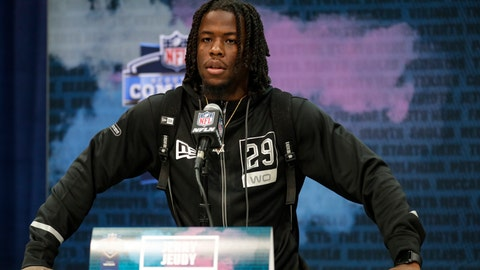 <p>               Alabama wide receiver Jerry Jeudy speaks during a press conference at the NFL football scouting combine in Indianapolis, Tuesday, Feb. 25, 2020. (AP Photo/Michael Conroy)             </p>