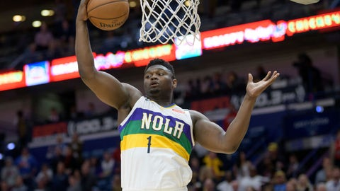 <p>               New Orleans Pelicans forward Zion Williamson grabs a rebound during the first half of the team's NBA basketball game against the Oklahoma City Thunder in New Orleans, Thursday, Feb. 13, 2020. (AP Photo/Matthew Hinton)             </p>