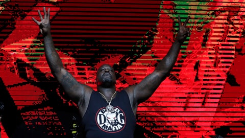 <p>               Former NBA basketball player Shaquille O' Neal DJ's at Shaq's Fun House, Saturday, Feb. 1, 2020, in Miami. This carnival themed music festival is one of numerous events taking place in advance of Miami hosting Super Bowl LIV on Feb. 2. (AP Photo/Lynne Sladky)             </p>