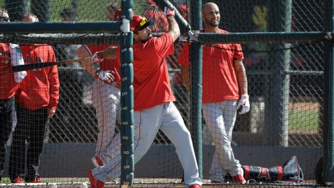 <p>               Los Angeles Angels' Anthony Rendon hits during spring training baseball practice, Monday, Feb. 17, 2020, in Tempe, Ariz. (AP Photo/Darron Cummings)             </p>