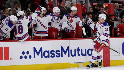 <p>               New York Rangers' Chris Kreider (20) celebrates with teammates on the bench after scoring a goal during the second period of an NHL hockey game against the Chicago Blackhawks Wednesday, Feb. 19, 2020, in Chicago. New York won 6-3. (AP Photo/Paul Beaty)             </p>