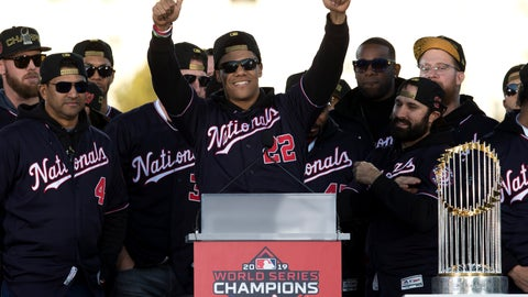 <p>               FILE - In this Nov. 2, 2019, file photo, Washington Nationals left fielder Juan Soto, center, celebrates with teammates during a rally following a parade to celebrate the team's World Series baseball championship over Houston Astros in Washington. The Nationals head to spring training with mostly the same squad that won the World Series. They are counting again on being led by a star-studded rotation featuring Max Scherzer and Stephen Strasburg, along with slugger Soto. (AP Photo/Jose Luis Magana, File)             </p>