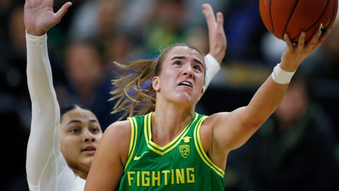 <p>               Oregon guard Sabrina Ionescu, front, drives to the rim for a basket past Colorado guard Lesila Finau late in the first half of an NCAA college basketball game Saturday, Feb. 1, 2020, in Boulder, Colo. (AP Photo/David Zalubowski)             </p>