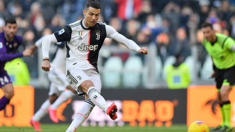 <p>               Juventus' Cristiano Ronaldo shoots to score on a penalty during a Serie A soccer match between Juventus and Fiorentina, in Turin, Italy, Sunday, Feb. 2, 2020. (Fabio Ferrari/LaPresse via AP)             </p>