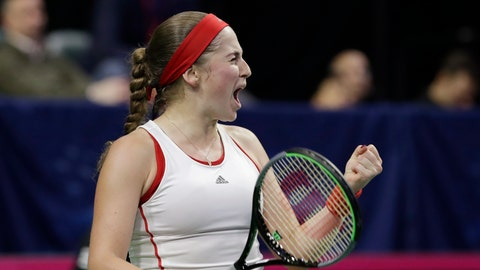 <p>               Latvia's Jelena Ostapenko reacts to winning a game against United States' Sofia Kenin in their third set during a Fed Cup qualifying tennis match Saturday, Feb. 8, 2020, in Everett, Wash. (AP Photo/Elaine Thompson)             </p>