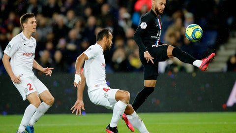 <p>               PSG's Neymar, right, controls the ball by Montpellier's Vitorino Hilton, center, and Arnaud Souquet during the French League One soccer match between Paris-Saint-Germain and Montpellier at the Parc des Princes stadium in Paris, Saturday Feb. 1, 2020. (AP Photo/Christophe Ena)             </p>