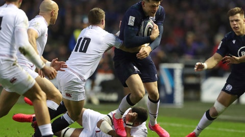 <p>               England's George Ford, 10, tackles Scotland's Blair Kinghorn during the Six Nations rugby union international match between Scotland and England at Murrayfield Stadium, in Edinburgh, Scotland, Saturday, Feb. 8, 2020. (AP Photo/Scott Heppell)             </p>