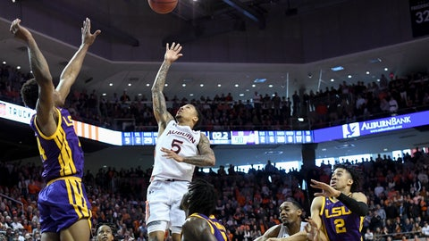 <p>               Auburn guard J'Von McCormick (5) shoots the game-winning basket in overtime over an LSU defender during an NCAA college basketball game Saturday, Feb. 8, 2020, in Auburn, Ala. auburn won 91-90 in overtime.(AP Photo/Julie Bennett)             </p>