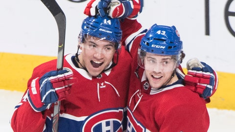 <p>               Montreal Canadiens' Jordan Weal (43) celebrates with Nick Suzuki after scoring against the Dallas Stars during the second period of an NHL hockey game Saturday, Feb. 15, 2020, in Montreal. (Graham Hughes/The Canadian Press via AP)             </p>