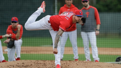 <p>               Philadelphia Phillies' Vince Velasquez delivers a pitch during a spring training baseball workout Wednesday, Feb. 19, 2020, in Clearwater, Fla. (AP Photo/Frank Franklin II)             </p>