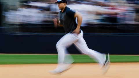 <p>               New York Yankees' Giancarlo Stanton runs during a spring training baseball workout Thursday, Feb. 20, 2020, in Tampa, Fla. (AP Photo/Frank Franklin II)             </p>